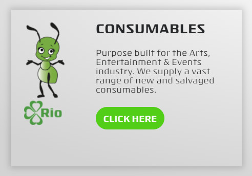 Consumables. Purpose built for the Arts, Entertainment & Events industry. We supply a vast range of new and salvaged consumables.